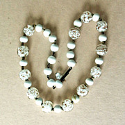 Vintage White Glass and Gold Fleck Murano Glass Bead Necklace