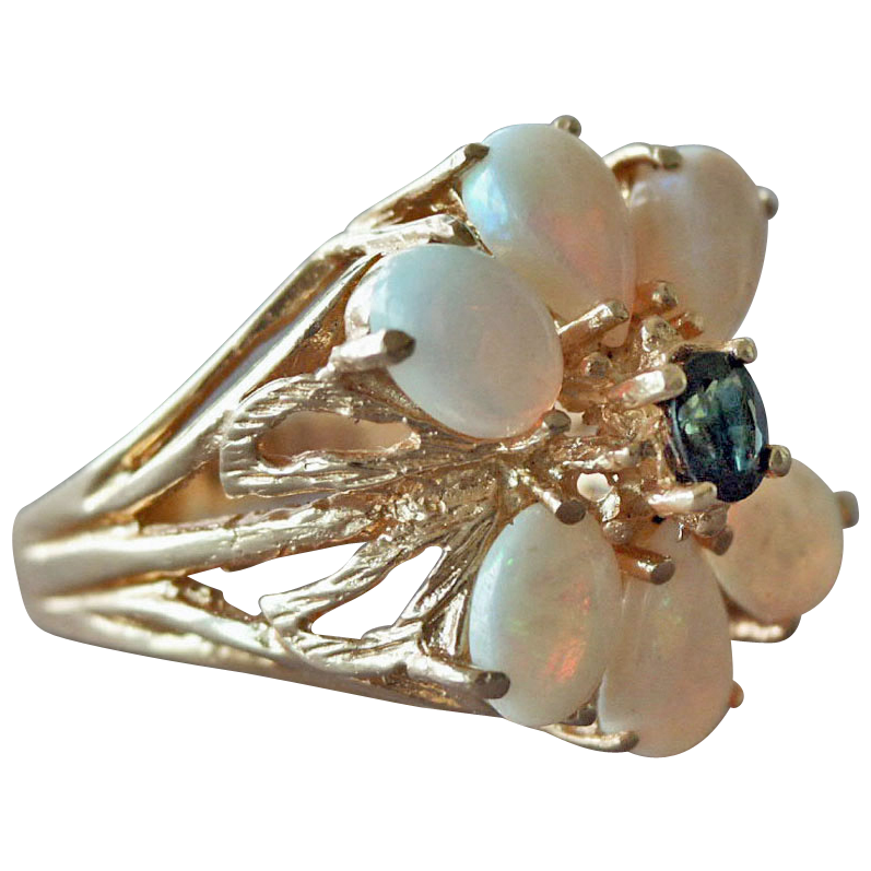 Custom Designed Opal and Sapphire 14K gold Ring