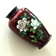 Deepest of Red Pigeon Blood Enamel  Vase Signed