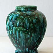Vase Intense Blues and Greens Art Pottery Drip Glaze