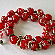 Bright Red Murano Glass Aventurine Bead Necklace