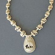 Vintage Carved elephants Bone Necklace