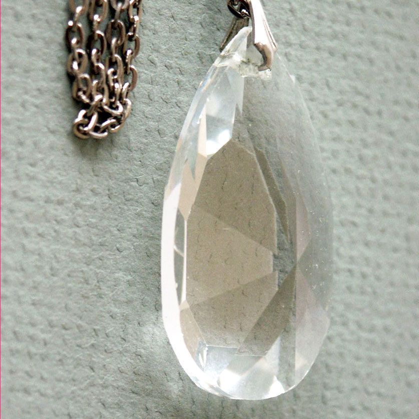 Large Crystal Pendant with Chain Necklace