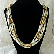 Ivory and Natural Bone Heishi Necklace Multistrand