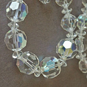 Vintage Faceted Glass Crystal AB Necklace