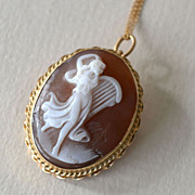 14k Gold Shell Cameo Pin Pendant and Chain Dancing Muse with Lyre