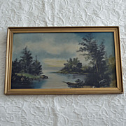 Antique Oil Painting Evening River Scene