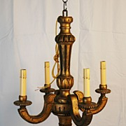 Painted Diminutive Wooden Chandelier