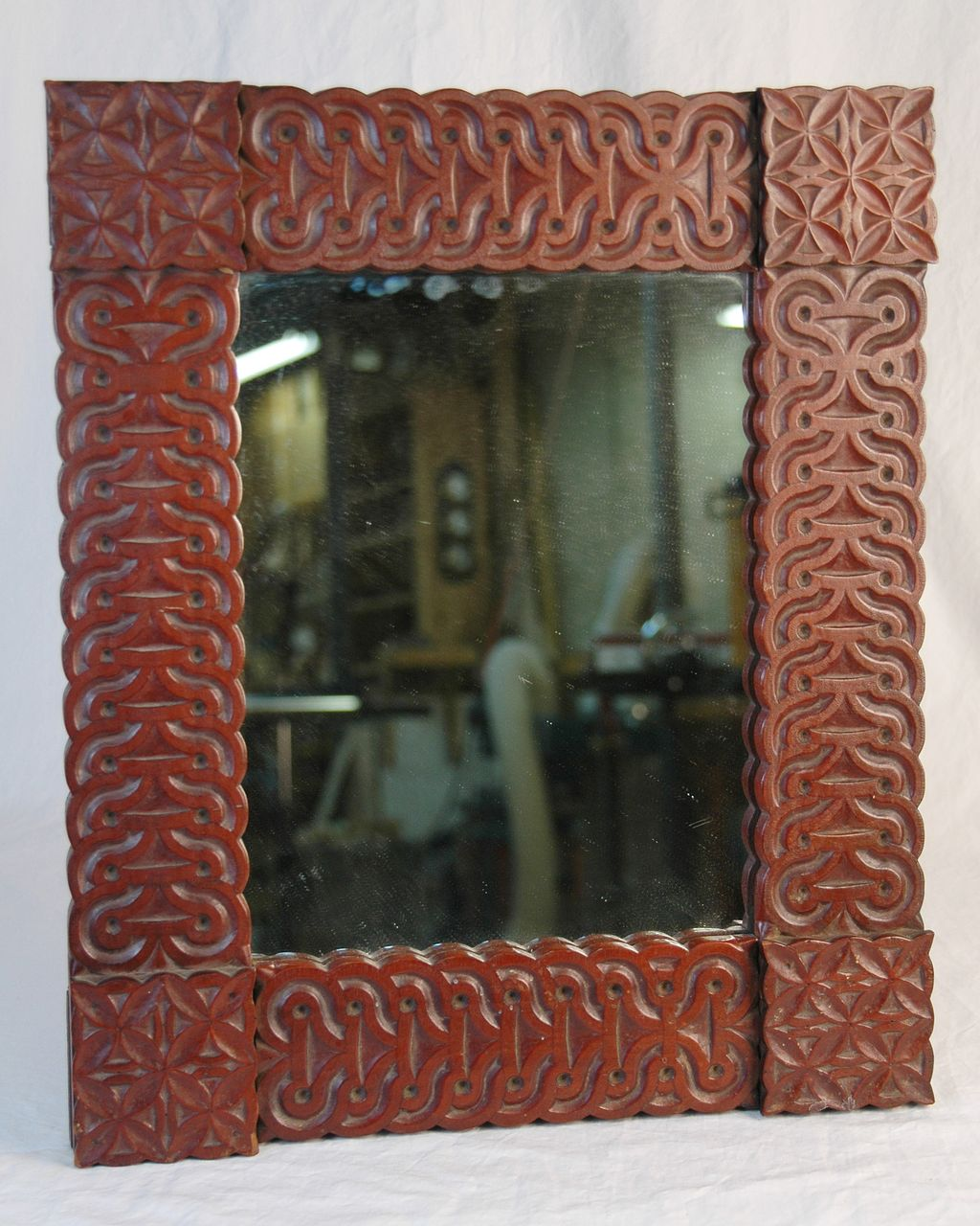 Rare Vintage Folk Art Carved Cherry Mirror