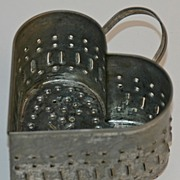 19th Century Punched Tin Heart Shaped Cheese Mold
