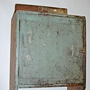 Early Antique Green Painted Hanging Cabinet