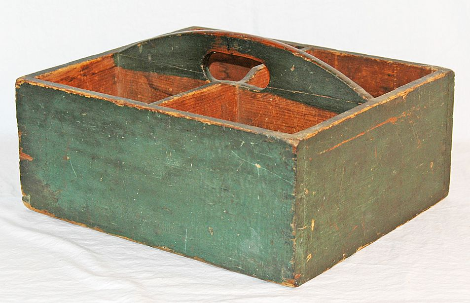 Antique Divided Four Section Pine Carrier in Original Green Surface
