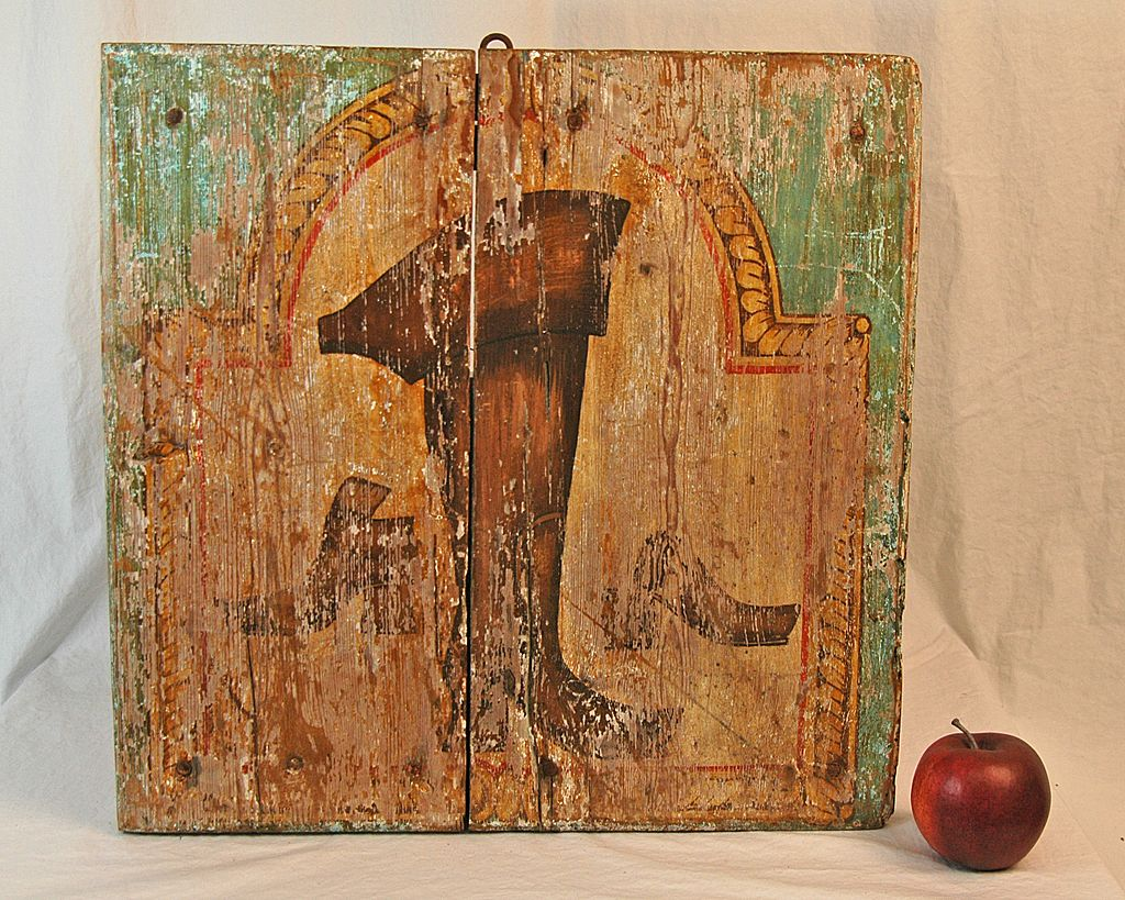 18th Century Painted Wooden Boot Maker's Trade Sign