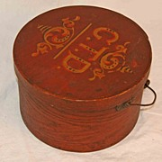 Antique Decorated Pantry Box with Bail Handle