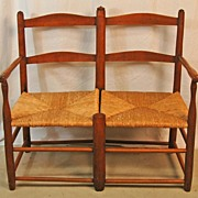 19th Century Wagon Seat with Natural Rush Seating