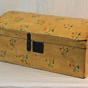 Dome Top Box in Yellow Paint and Floral Design