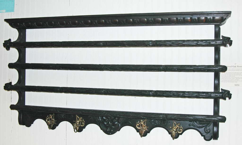 Carved Continental Pewter Wall Shelf