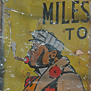 "Vintage Black Memorabilia Painted Tin Roadside Sign - ""Spats"""