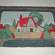 Charming Cottage Scene Wool Hooked Rug