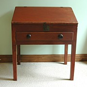Antique 19th Century Red Painted Slant Front Country Desk with one Drawer and Internal Drawers