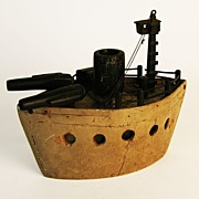 Unusual Vintage  Folk Art Battleship in Pine with Original Tan and Black Paint
