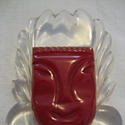 SALE Bakelite Mask FIgural Carved Pin