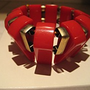 SALE Bakelite Red Stretch Bracelet