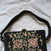 SALE Needlepoint Vintage Black Handbag