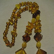 SALE Amber Beaded Vintage Necklace With Barrel Clasp