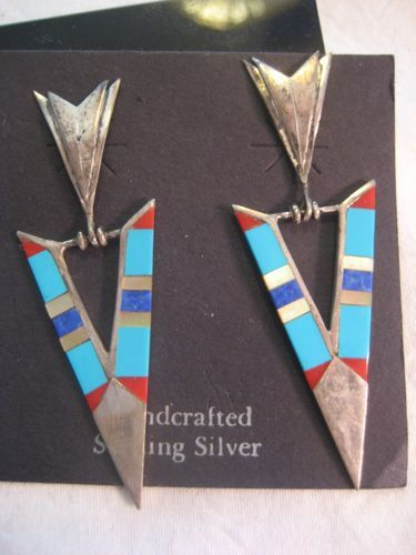 Sterling & Inlay Arrow Vintage  Earrings