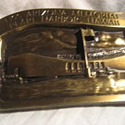 SALE Pearl Harbor USS Arizona Vintage Brass Belt Buckle