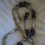 SALE Amethyst Vintage Necklace Nickel Silver Beads