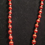 SALE Red Beaded Vintage Necklace