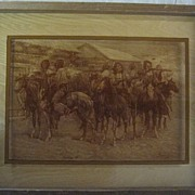 SALE Remington Indian Party Photography on Framed Glass