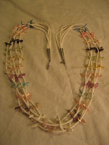 Heishi & Carved Bird Fetish Five Strand Necklace