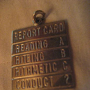 SALE Sterling Silver Report Card Charm