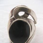 SALE Sterling Silver Onyx Vintage Ring