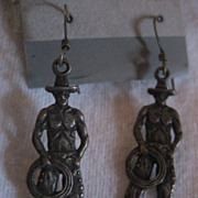 SALE Sterling Silver Cowboy Earrings