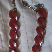 SALE Red Thermoset Vintage Necklace