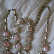 SALE Thermoset Pink Vintage Necklace & Bracelet