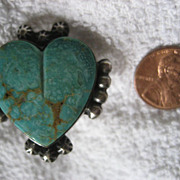 SALE Navajo Sterling Silver Turquoise Heart Ring