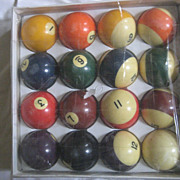 Bakelite Vintage Belgian Pool Balls In Box