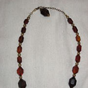 SALE Bakelite Cherry Amber Faceted Necklace