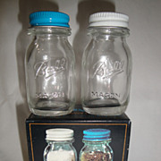 SOLD Vintage Ball Mason Salt & Pepper Shakers, New In Box, Never Used or Displayed,Circa Early