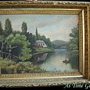 SALE Antique Landscape Painting - Oil On Board