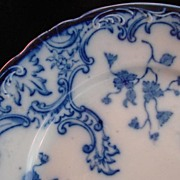 Victorian Antique Flow Blue Plate, Marie, W.H. Grindley & Co. Ltd.