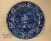 Romantic Staffordshire Flow Blue or Blue & White Transfer Picturesque Scenery Dinner Plate - Llanarth Court - R. Hall