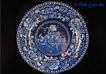 Romantic Staffordshire Dark Blue and White Transfer Plate - Birds, Fruit, Flowers