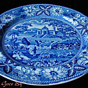 Romantic Staffordshire Blue & White Transfer Dinner Plate
