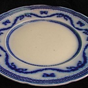 "Victorian Era Wood & Son ""Lorraine"" Flow Blue English Staffordshire Plate"
